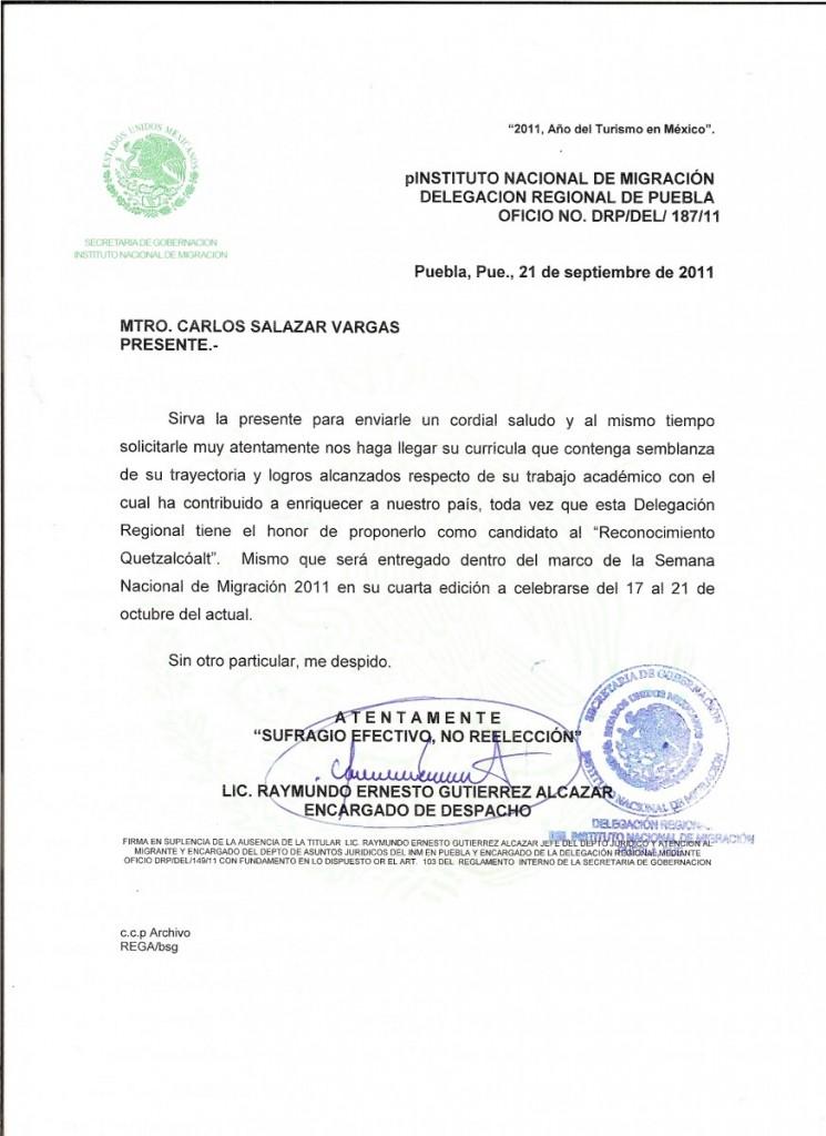 1. Premio Quetzalcoalt INM